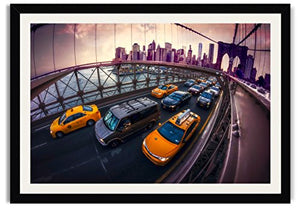 "Brooklyn Bridge Traffic 30"" x 20"" Framed Fine Art Print By Paul Brake"