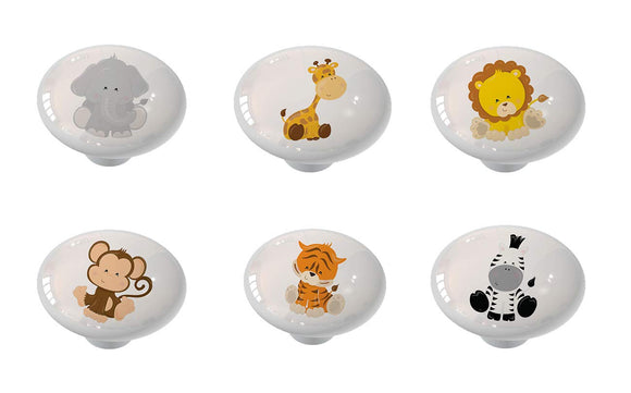 Set of 6 Nursery Safari Animals Ceramic Drawer Knobs