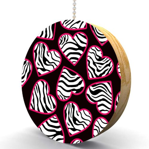 Zebra Print Hearts Hardwood Oak Fan/Light Pull