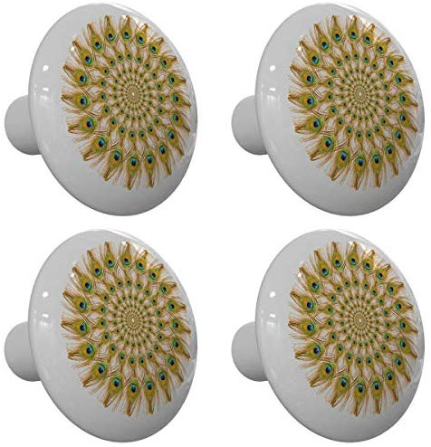 Set of 4 Peacock Feather Wheel Peacock Drawer Knobs