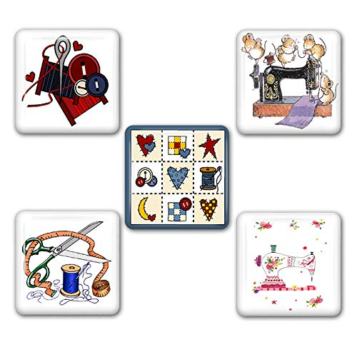 Sewing and Quilting Square Refrigerator Magnet Set