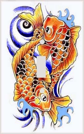 Oriental Koi Carp Pair  Switch Plate Cover