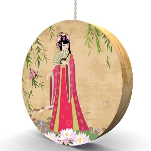 Chinese Girl with Water Blossoms Hardwood Oak Fan/Light Pull