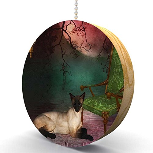 Siamese Cat Garden Hardwood Oak Fan/Light Pull