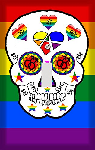 Gay Pride Sugar Skull Switch Plate Cover