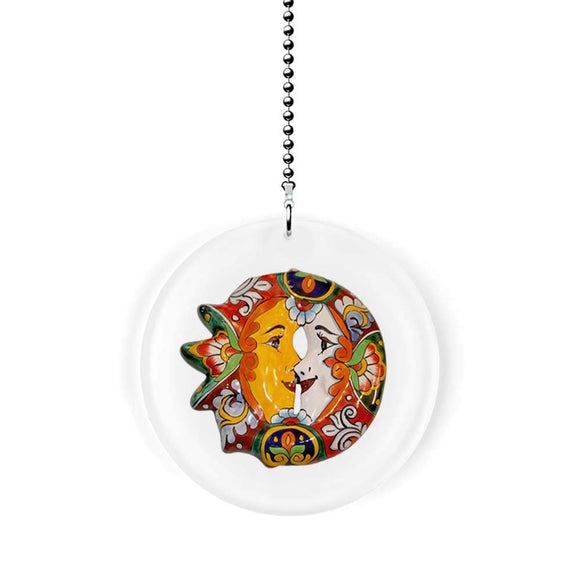 Mexican Talavera Kissing Sun and Moon Fan Pull