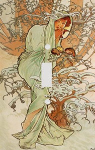 Fine Art Mucha Winter Switch Plate Cover