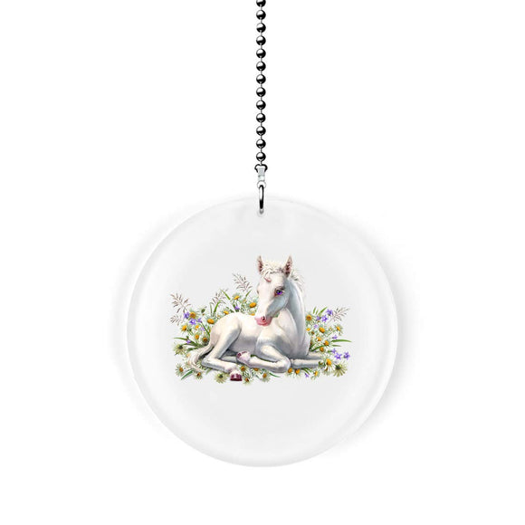 Baby Unicorn in Flowers Fan Pull