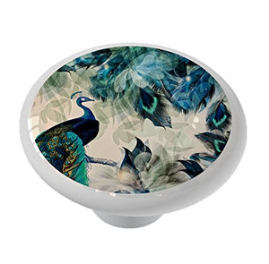 Abstract Peacock High Gloss Ceramic Drawer Knob