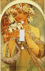 Fine Art Mucha Flowers Switch Plate Cover