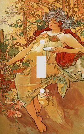 Fine Art Mucha Autumn Switch Plate Cover