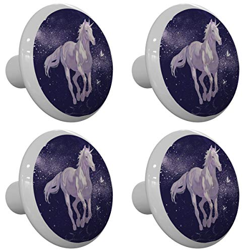 Set of 4 Unicorn Sparkle Butterfly Design Drawer Knobs