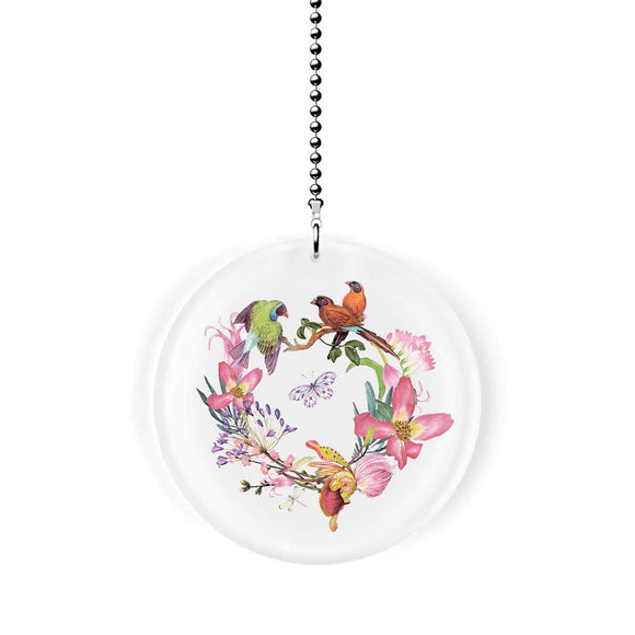 Birds and Orchid Wreath Fan Pull