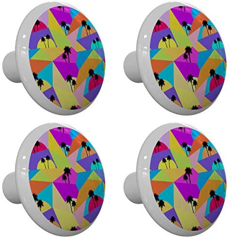 Set of 4 Pop Art Palm Tree Drawer Knobs