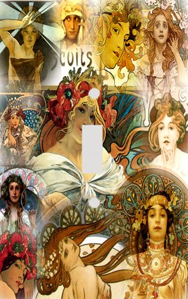 Fine Art Mucha Collage Switch Plate Cover