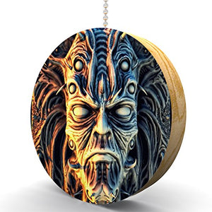 Demon Skull Hardwood Oak Fan/Light Pull