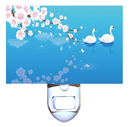 Swans and Cherry Blossoms Night Light