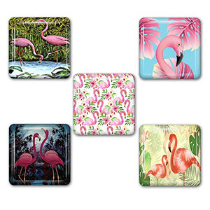 Flamingo Square Refrigerator Magnet Set