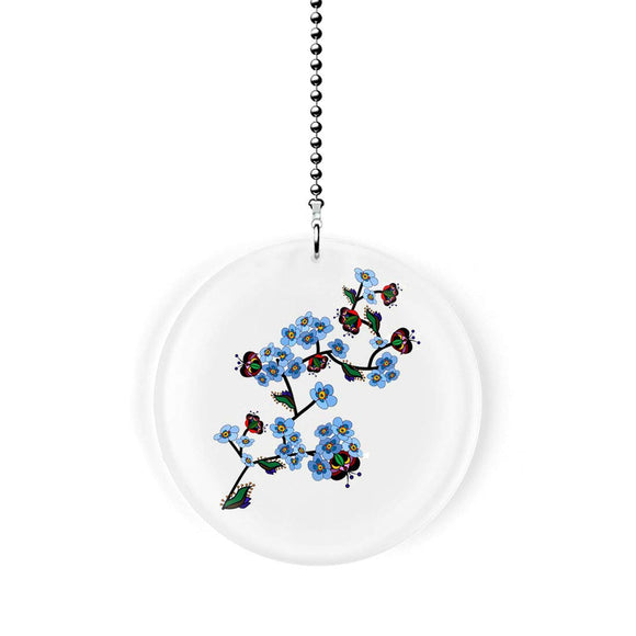Blue Oriental Floral Branch Fan Pull