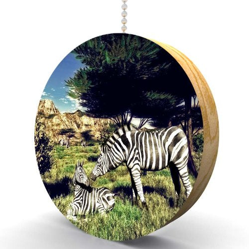 Wild Zebras Hardwood Oak Fan/Light Pull
