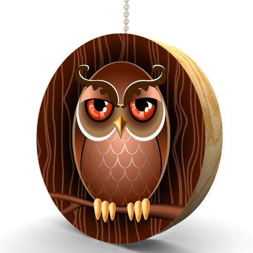 Retro Owl in the Woods Hardwood Oak Fan/Light Pull