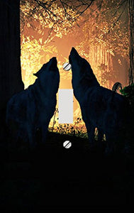 Firelight Forest Wolves Switch Plate Cover