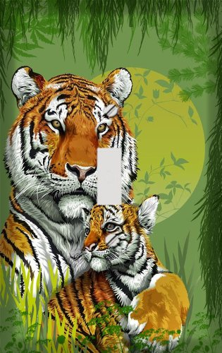 Tiger and Cub Jungle Switch Plate Cover