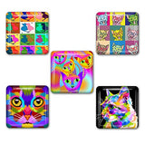 Colorful Cats Square Refrigerator Magnet Set