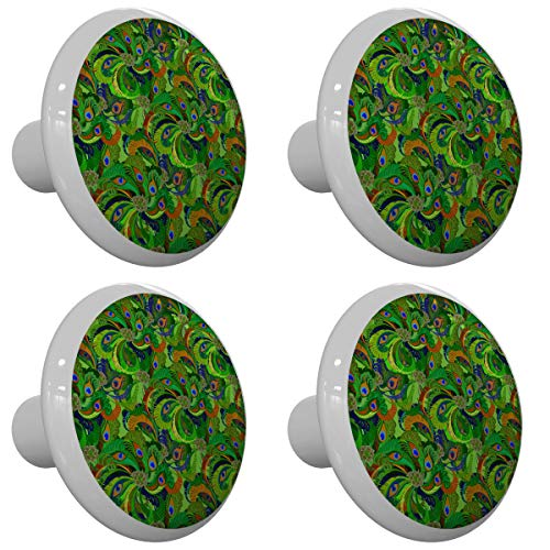 Set of 4 Posh Peacock Design Peacock Drawer Knobs