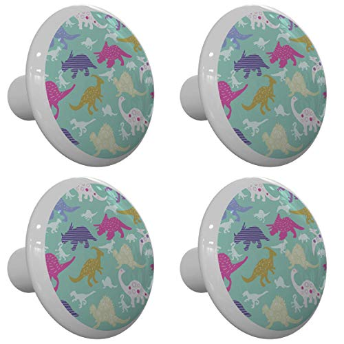 Set of 4 Various Patterned Dinosaur Drawer Knobs