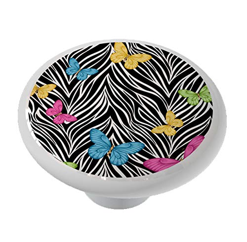 Zebra Print and Butterflies Drawer/Cabinet Knob by Gotham Decor