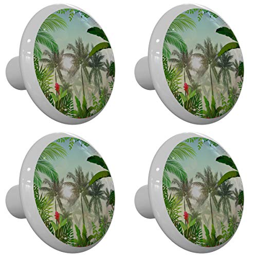 Set of 4 Palm Trees Forest Drawer Knobs
