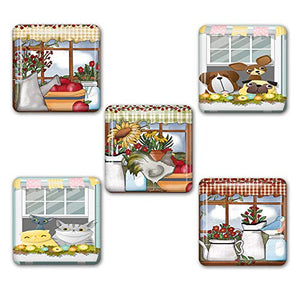 Country Windows Square Refrigerator Magnet Set