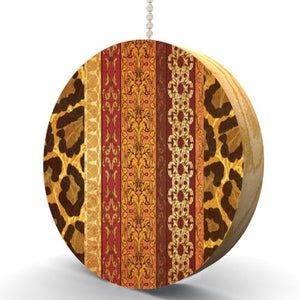 Animal Print Elegance Hardwood Oak Fan/Light Pull