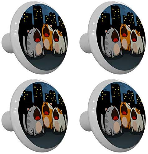 Set of 4 Silly City Singing Cats Drawer Knobs