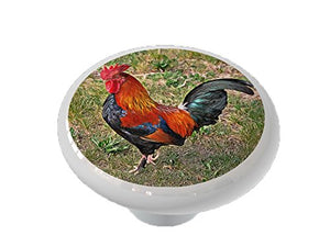 Barnyard Rooster Ceramic Drawer Knob