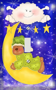 Sleepy Celestial Teddy Bear Switch Plate Cover