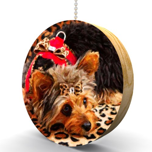 Yorkshire Terrier on Leopard Print Hardwood Oak Fan/Light Pull