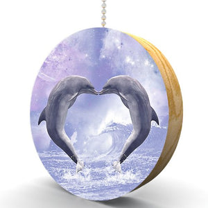 Dolphin Love Hardwood Oak Fan/Light Pull