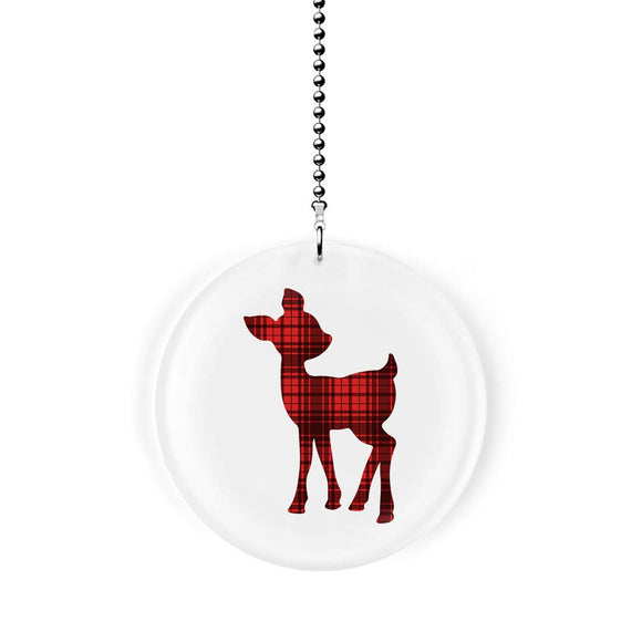 Deer Fawn Red Plaid Check Fan Pull