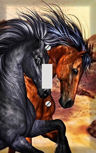 Wild Running Horse Pair Switch Plate Cover