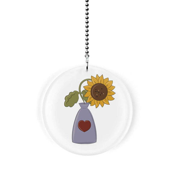 Sunflower in Heart Vase Fan Pull