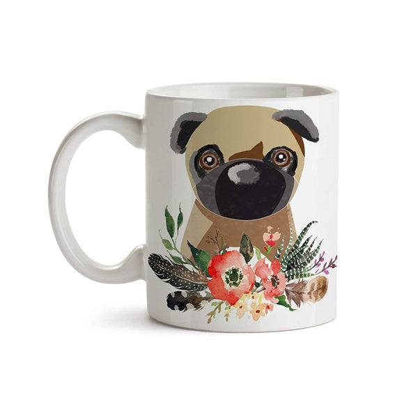Pug with Flowers and Feathers 11oz Coffee Mug - Tea Mug