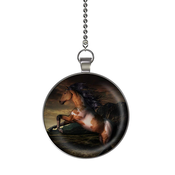Sunset Horse Fan/Light Pull Pendant with Chain