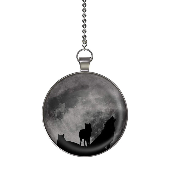 Howling Wolves Moon Glow in the Dark Fan/Light Pull Pendant with Chain