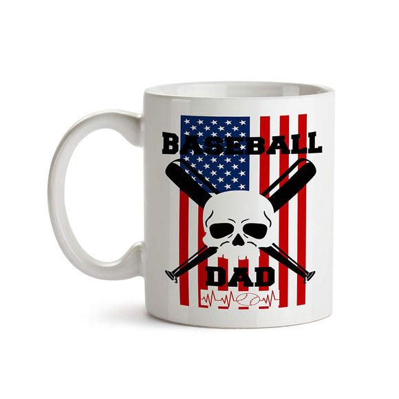 Baseball Dad Skull and Cross Bats 11oz Coffee Mug - Tea Mug