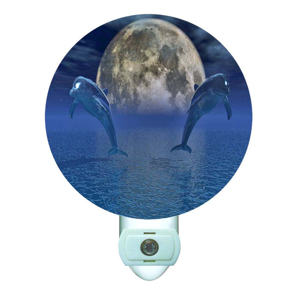 Celestial Dolphins Decorative Round Night Light
