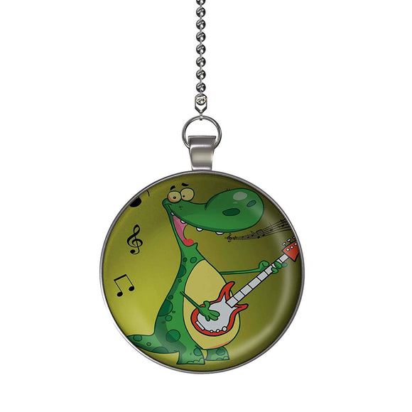 Rock and Roll Dinosaur Fan/Light Pull Pendant with Chain