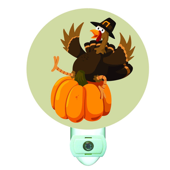Thanksgiving Turkey on Pumpkin Decorative Round Night Light
