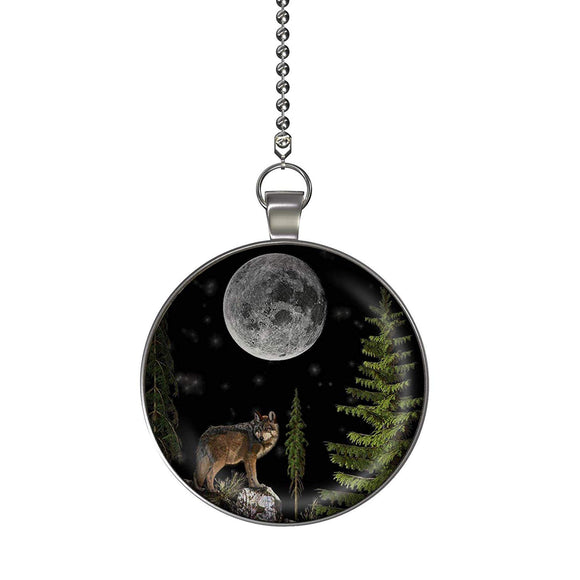 Night Wolf Ceiling Fan/Light Pull Pendant with Chain